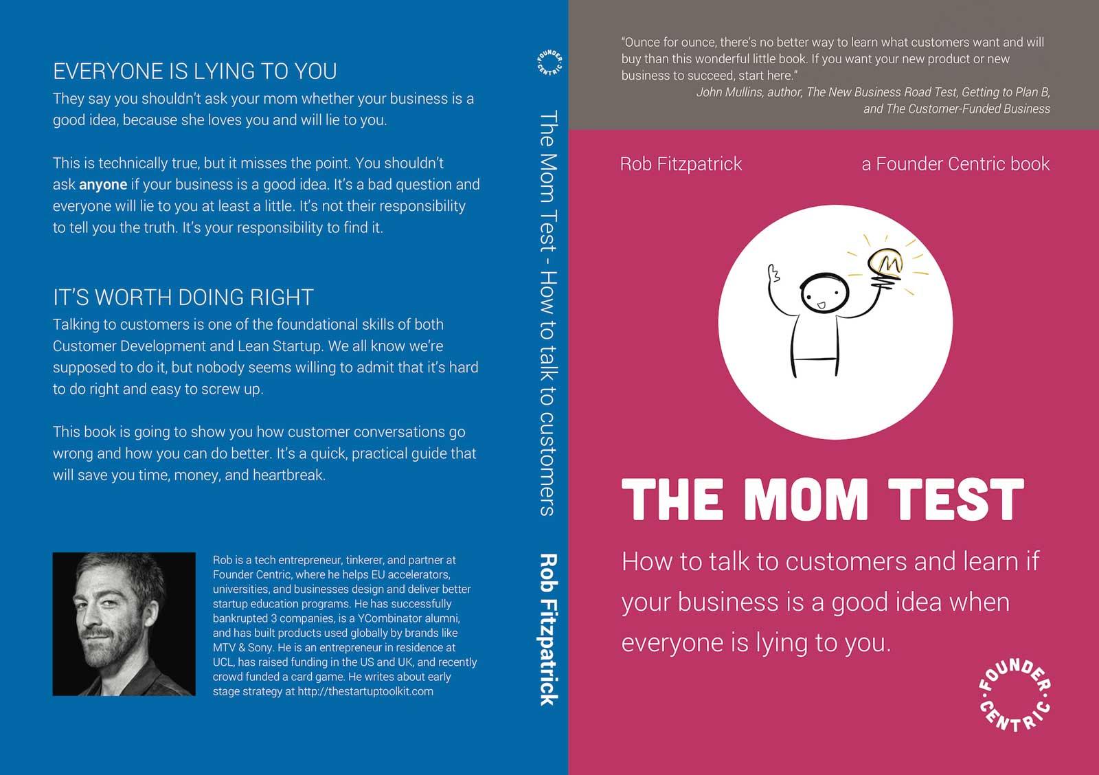 طرح روی جلد و پشت جلد کتاب The Mom Test